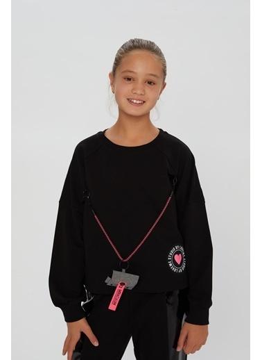 Little Star Little Star Kız Çocuk Askı Çantalı Sweatshirt Siyah